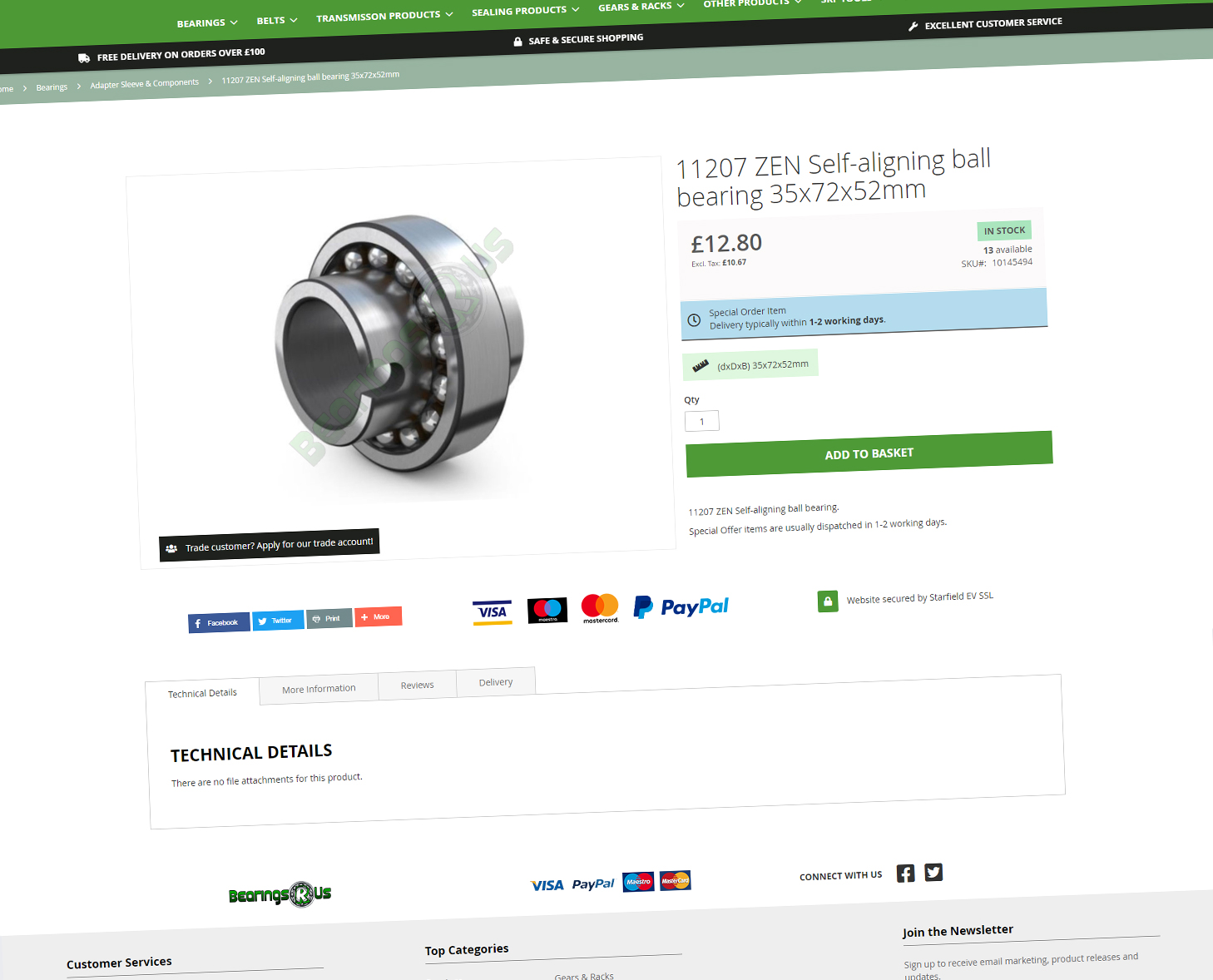 Bearings R Us Product Page