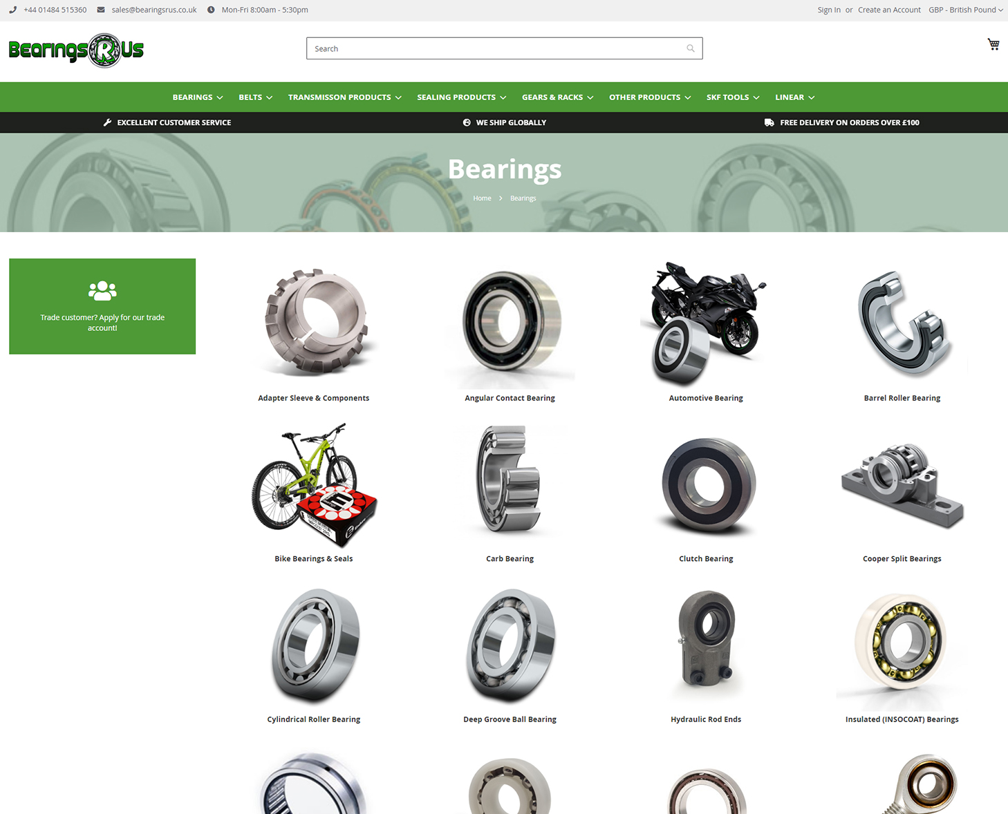 Bearings R Us Category Page