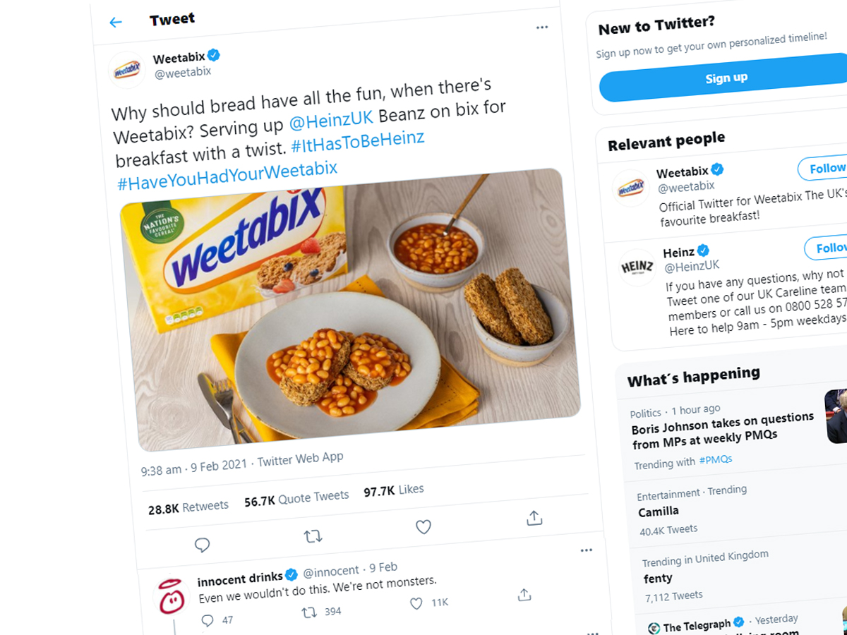 Weetabix and Heinz Beans Tweet