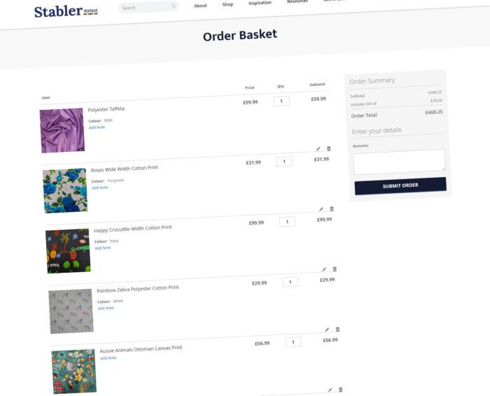 Stabler Textiles Ecommerce Checkout