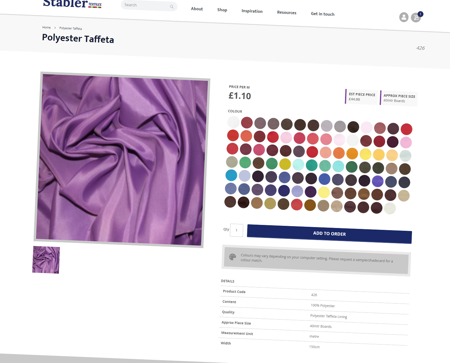 Stabler Textiles Ecommerce Product Page
