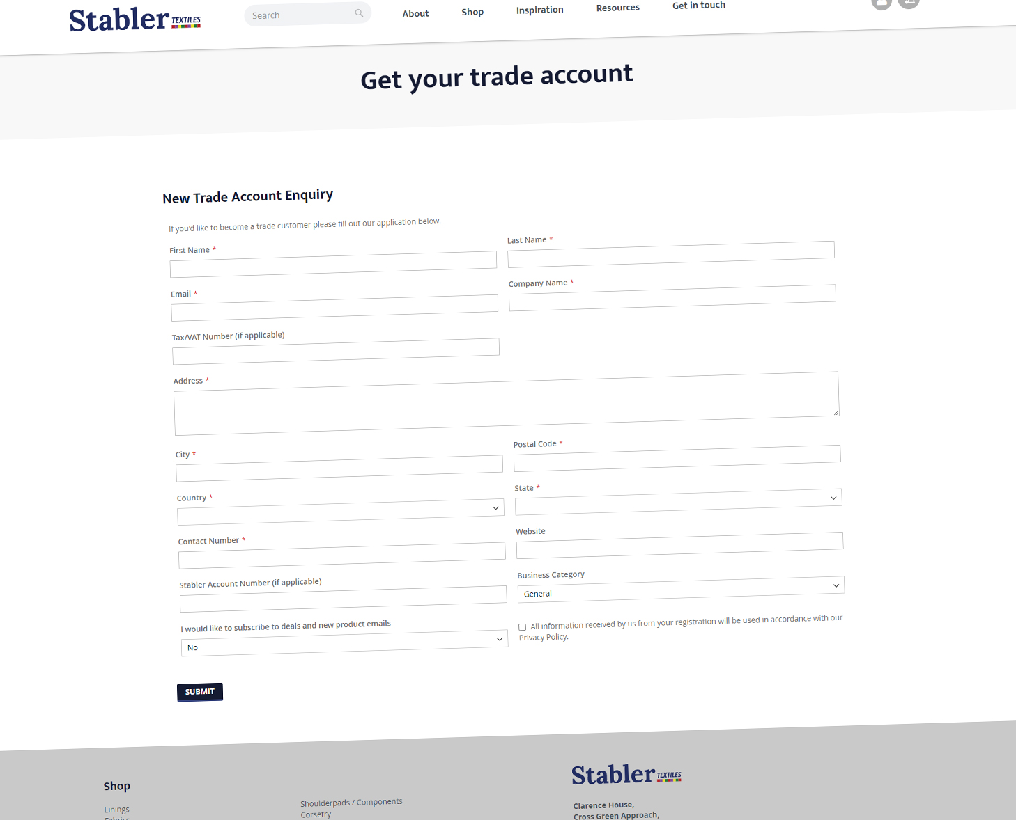 Stabler Textiles Trade Enquiry Form